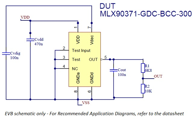 Schema for MLX90371 evaluation board for single die