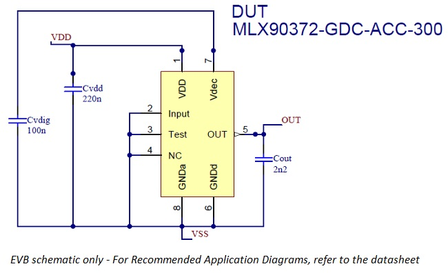 Schema for MLX90372 evaluation board for single die