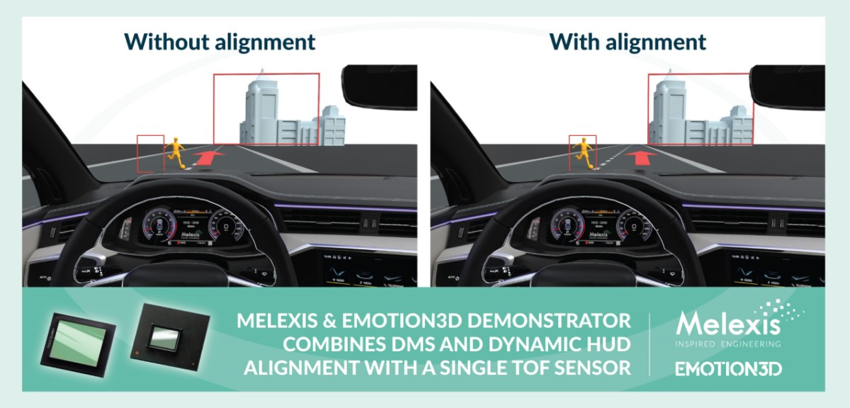 Melexis and Emotion3D new time-of-flight demonstrator combining DMS and dynamic HUD alignment