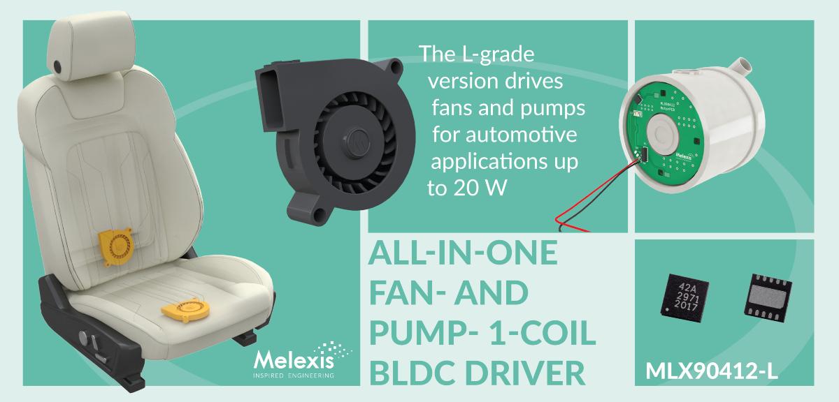 Melexis announces a 20 W low noise single coil fan and pump driver for automotive applications